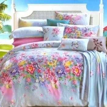 Betrise綺麗夢胭 雙人100%天絲TENCEL八件式鋪棉兩用被床罩組