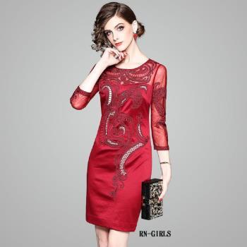 (現貨+預購 RN-girls)-【OL80019】極美精品網紗繡花七分袖長袖洋裝小禮服