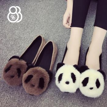 88%韓版醜萌鞋女秋冬季百搭可愛毛毛鞋學生鞋休閒鞋懶人鞋