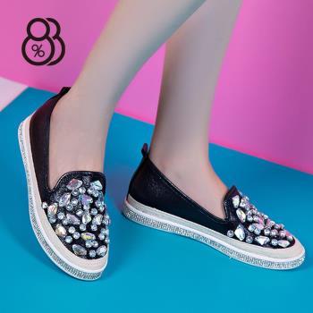 88%閃亮水鑽懶人鞋韓版淺口百搭休閒鞋套腳女鞋