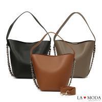 La Moda 人氣注目單品鍊條裝飾寬版背帶肩背斜背子母包(共3色)
