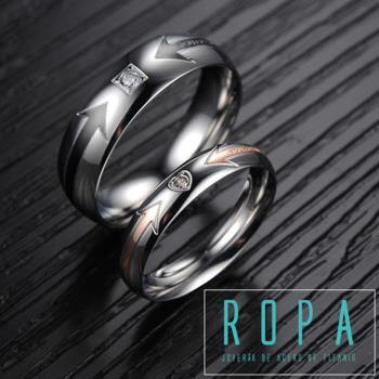 316鈦鋼時尚鑲鑽戒指情侶對戒情人節禮物【E07415】