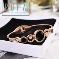316鈦鋼時尚鏤空黑色圓型雙鑽手鐲彈簧開口手環18K玫瑰金飾品【E07N871】