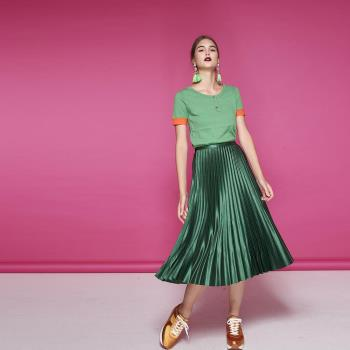 ICHE衣哲 時尚簡約羊毛撞色針織造型上衣-綠