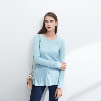 ICHE衣哲 氣質立體珠鑲飾羊毛針織造型上衣-藍