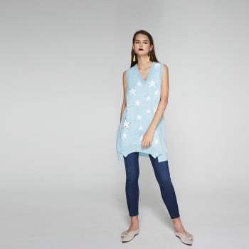 ICHE衣哲 星星印花長版質感針織上衣-藍-,