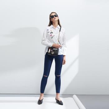 時尚個性印花百搭造型襯衫-白