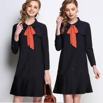 【麗質達人】HN5501藍色百摺裙擺長袖洋裝(L-5XL)