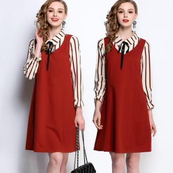 【麗質達人】HN5508條紋上衣+背心裙二件套(L-5XL)