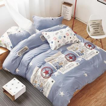 FOCA英倫情調 單人100%精梳棉三件式鋪棉兩用被床包組