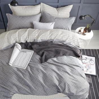 FOCA恬静时光 單人100%精梳棉三件式鋪棉兩用被床包組