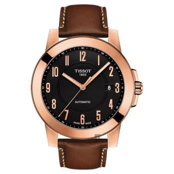 TISSOT天梭 SWISSMATIC 紳士機械錶 玫瑰金框x咖啡 44mm T0984073605201