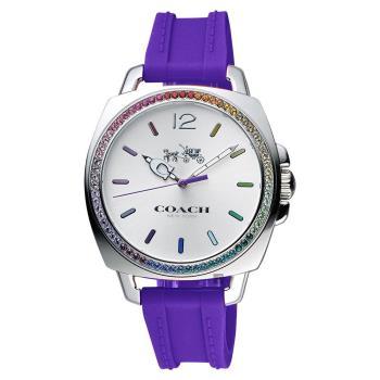 COACH Boyfriend 彩色水晶石英手錶 銀x紫 38mm 14502530