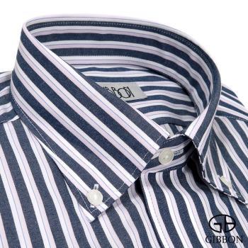 GIBBON 輕商務修身長袖襯衫‧深藍條