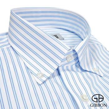 GIBBON 精選條紋修身長袖襯衫‧淺藍條