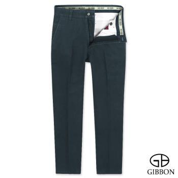 GIBBON 彈性厚質平口休閒長褲‧深藍