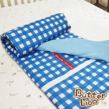 【奶油獅】格紋系列-台灣製造-100%精梳純棉兩用鋪棉被套/四季被(藍)-雙人