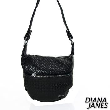 【Diana Janes 黛安娜】牛皮 編織壓紋斜背包