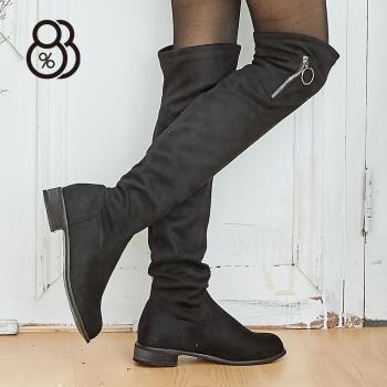 88%秋冬季歐美顯瘦長靴過膝靴絨面長筒靴3.5CM低粗跟