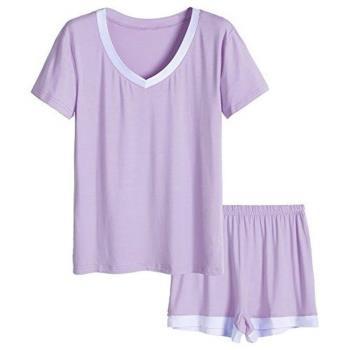 Love21 女大尺碼柔軟寬鬆紫色V領短睡衣褲套組(預購)