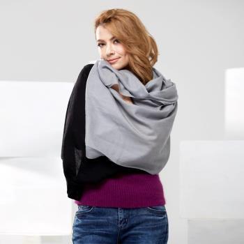 【Angel Woolen】100%Wool 雙色多變造型 羊毛披肩圍巾(黑色)