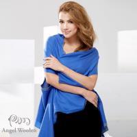 【Angel Woolen】100%Wool 雙色多變造型 羊毛披肩圍巾(藍色)