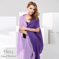 【Angel Woolen】100%Wool 雙色多變造型 羊毛披肩圍巾(紫色)