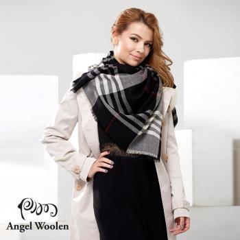 Angel Woolen 浪漫英倫極緻羔羊毛披肩 圍巾(黑)