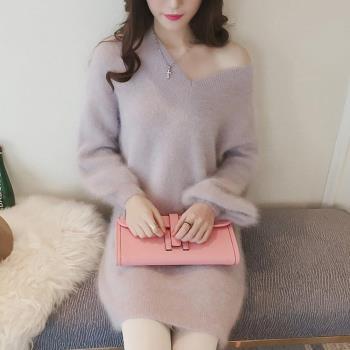 【A3】甜心毛絨絨彈性針織長版上衣-洋裝(駝色-灰色-藕粉) FREE