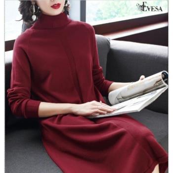 伊凡莎名媛時尚-氣質高領寬鬆針織洋裝9218SE