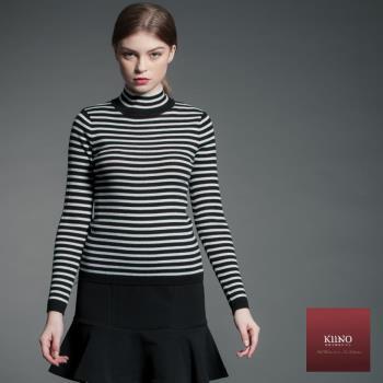 【KIINO】保暖立領基本款橫條上衣-3852-1856