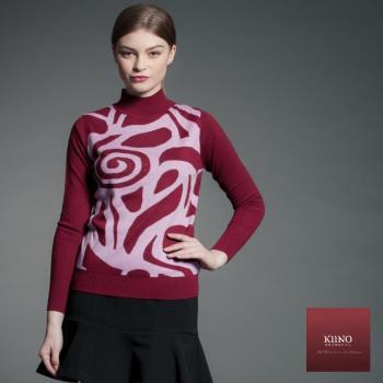 KIINO貴婦首選!抽象圖騰羊絨針織毛衣-3852-1075