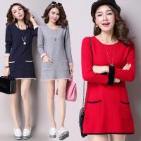 【A3】氣質美人針織長版上衣(洋裝)紅/灰/藍/卡其 M-XXL