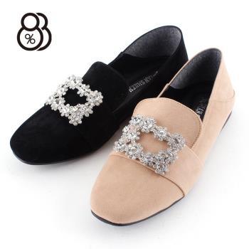 88%韓國東大門絨面皮帶扣水鑽雪花扣時尚小方頭樂福鞋