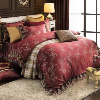 HOYACASA璀璨金奢 加大八件式蕾絲緹花兩用被床罩組-贈羽絲絨一被二枕-型(網)