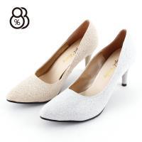 88%歐美尖頭細跟性感夜店8CM高跟金銀色婚鞋淺口套腳高跟鞋