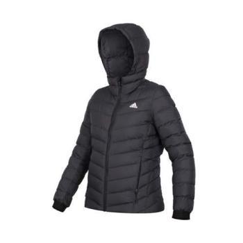 ADIDAS 女羽絨外套-保暖 蓄暖 防寒 連帽外套 愛迪達 黑白