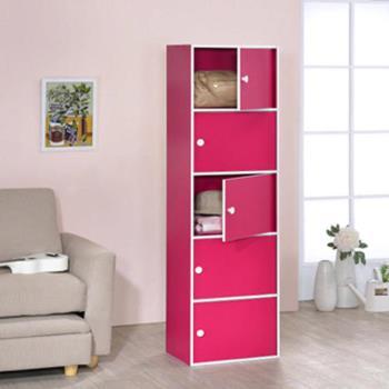 【傢俱屋】五層門櫃-桃紅