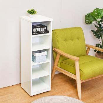 Birdie南亞塑鋼-1尺開放式五格收納置物櫃/隙縫櫃/鞋櫃(白色)
