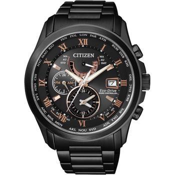 CITIZEN 光動能電波萬年曆腕錶-黑x玫瑰金時標 43mm AT9085-53E