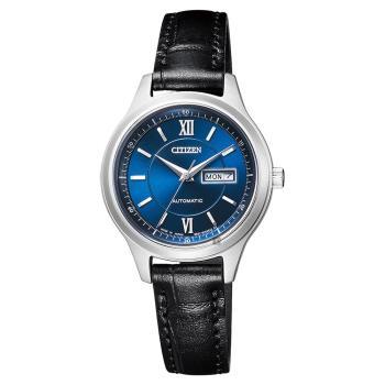 CITIZEN 星辰 爵士機械女錶-藍x黑 29mm PD7150-03L
