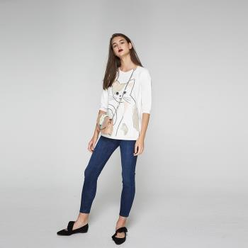 ICHE衣哲 時尚造型貓鑲飾亮片七分袖長版上衣