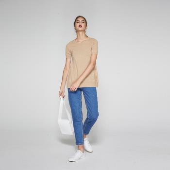 ICHE衣哲 喀什米爾羊毛藍長版質感針織上衣-米(兩色)