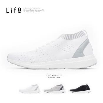 Life8-Sport 超透氣 輕量飛織運動鞋-灰/白/黑-09788