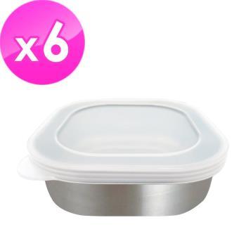 日本ECHO 不銹鋼方型保鮮盒-附蓋(6入組)