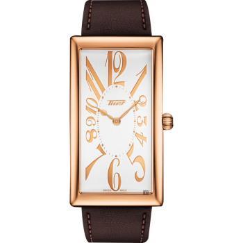 TISSOT天梭 Heritage Banana 100週年紀念錶-玫塊金框x咖啡色 T1175093603200