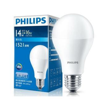 PHILIPS飛利浦 LED球型 14W 廣角LED燈泡E27 白光/黃光 全電壓(6入組)