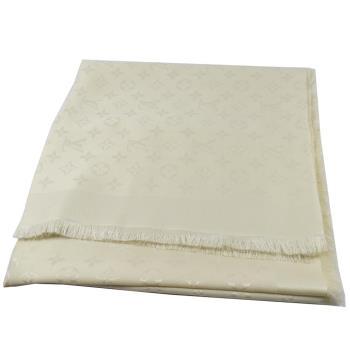 LV M71330 Monogram 經典花紋羊毛絲綢披肩圍巾.白