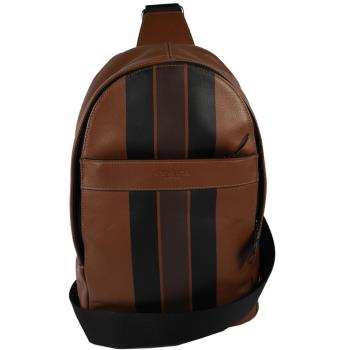 COACH 72226 經典LOGO烙印皮革條紋單背後背包.咖/黑