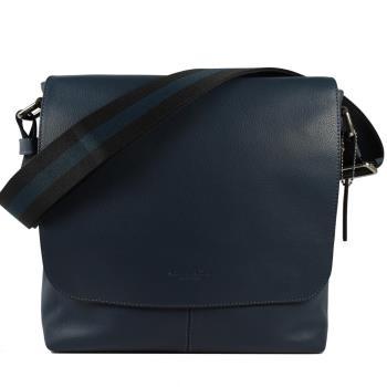 COACH 72362 經典LOGO烙印荔枝皮革雙色織帶斜背包.藍